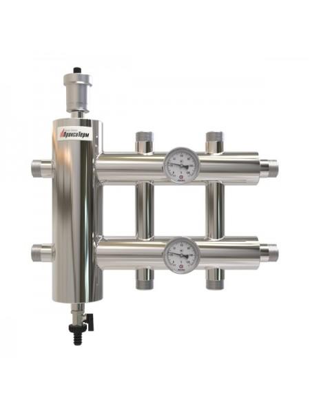 Распределительный коллектор с гидрострелкой 60 кВт, 3 контура