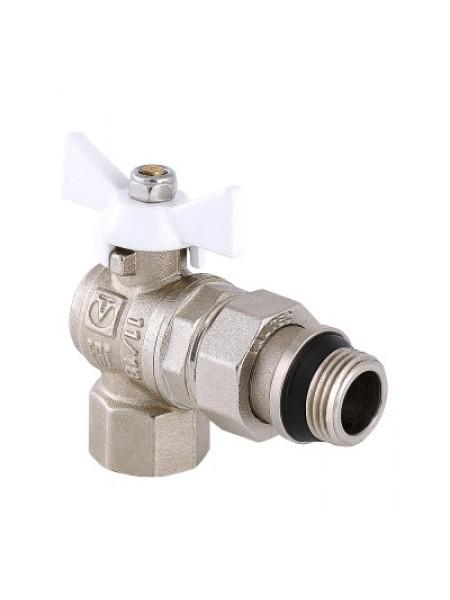 Кран шаровой VALTEC BASE угловой с полусгоном и дополнительным уплотнением (VT.228.NRW)